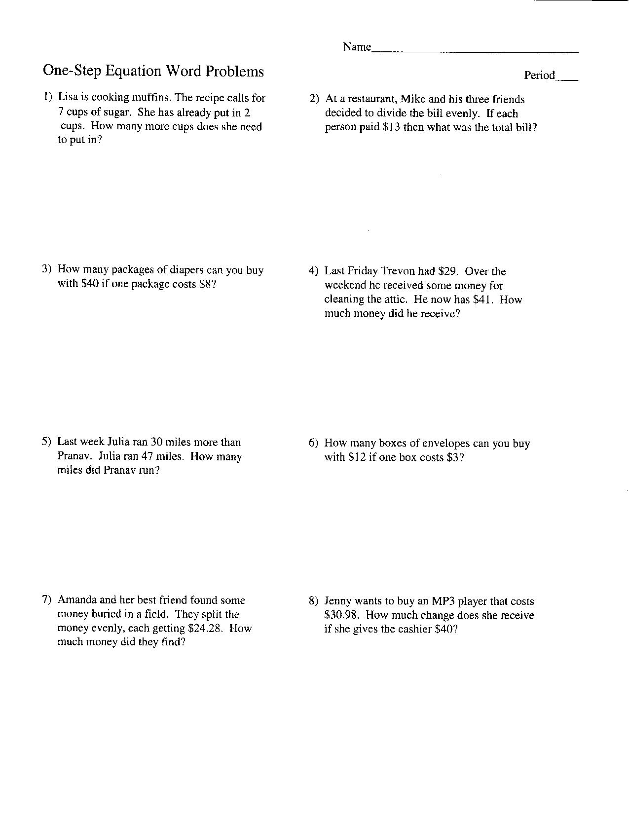 worksheet One Step Equation Word Problems photoaltan15 algebra word problem worksheets worksheets